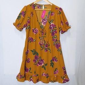 Short Sleeve V-Neck Tie Front Mustard Floral Dress